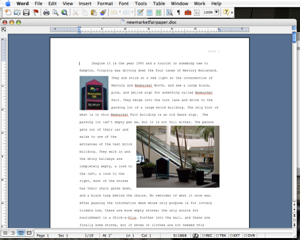 The document in Microsoft Word 2004 for OSX